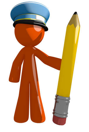 mailman: Orange Man postal mail worker  Holding Giant Pencil Stock Photo