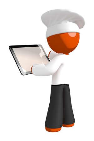 Orange Man Chef Checking Tablet Stock Photo