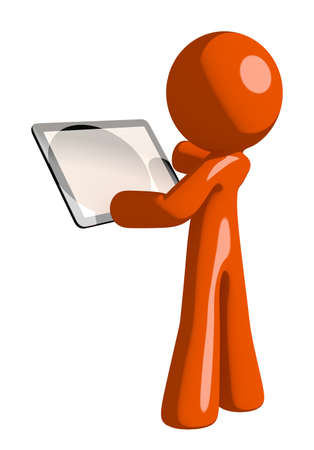 back view man: Orange Man Viewing Tablet Computer Back View Blank Space Stock Photo