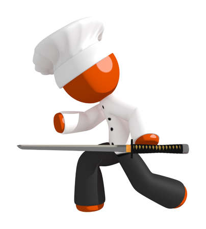 professional chef: Orange Man Chef Ninja Sword Chopping