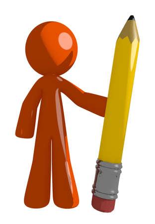 orange man: Orange Man Holding Giant Pencil