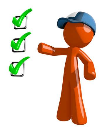mailman: Orange Man postal mail worker  Pointing Green Checkmark List Stock Photo