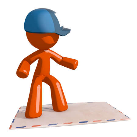 mail man: Orange Man postal mail worker  Surfing on  Envelope