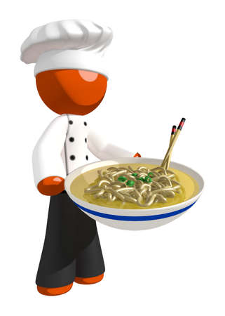 japanese cooking: Orange Man Chef holding Bow of Noodles