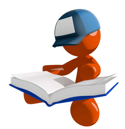 mailman: Orange Man postal mail worker  Sitting Reading Big Book Stock Photo