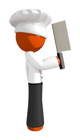 cleaver: Orange Man Soluting with Cleaver