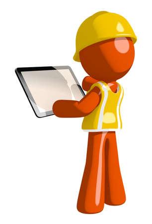 arquitecto caricatura: Orange Man Trabajador de construcción Viendo el ordenador de la tablilla Volver Ver espacio en blanco Foto de archivo