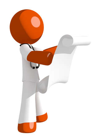 draftsmanship: Orange Man doctor Reading Schematic Front Stock Photo