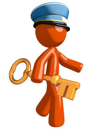 mailman: Orange Man postal mail worker  Walking with Gold Key