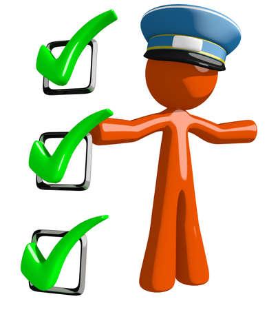 mail man: Orange Man postal mail worker  Presenting Green Checkmark List