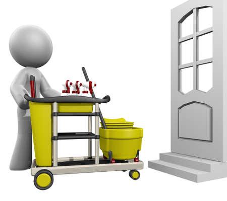 empleadas domesticas: 3d señora que muestra hacia una puerta para limpiar la casa.