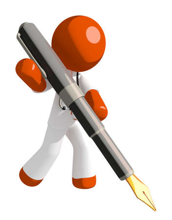 cartoon orange: Orange Man doctor Writing With Fountain Pen