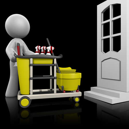 empleadas domesticas: 3d se�ora que muestra hacia una puerta para limpiar la casa.