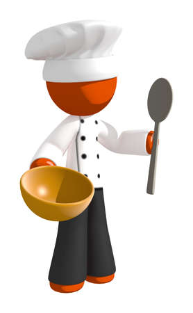 mixing: Orange Man Chef with Mixing Bowl and Spoon