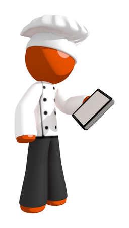 professional chef: Orange Man Chef Checking Phone