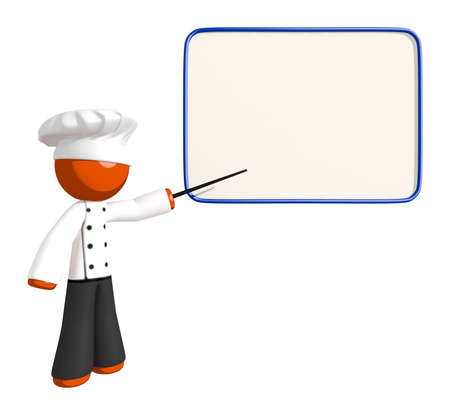 Orange Man Chef Teacher with Dry-erase board Stock Photo