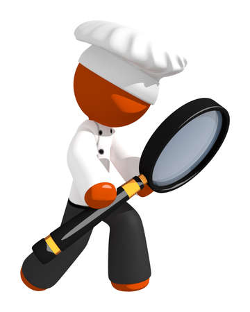 magnifying: Orange Man Chef Holding Magnifying Glass