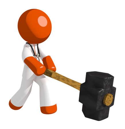 oppression: Orange Man doctor Hitting with Sledge Hammer