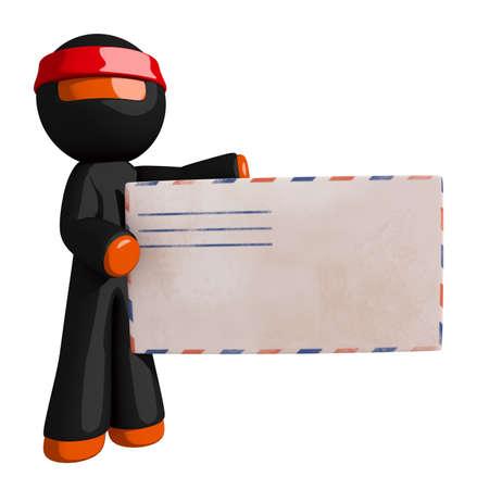 envelopes: Orange Man Ninja Warrior Presenting Prize Envelope
