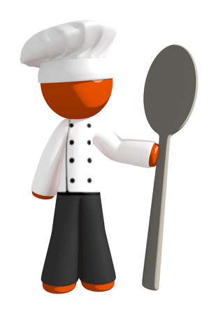 cute graphic: Orange Man Chef with Giant Spoon Stock Photo