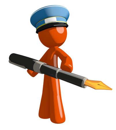 mailman: Orange Man postal mail worker holding a pen
