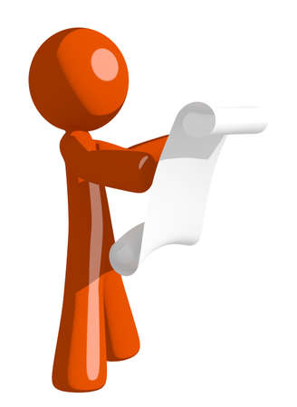 draftsmanship: Orange Man Reading Schematic Front Stock Photo