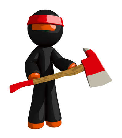 the ax: Orange Man Ninja Warrior Holding Ax