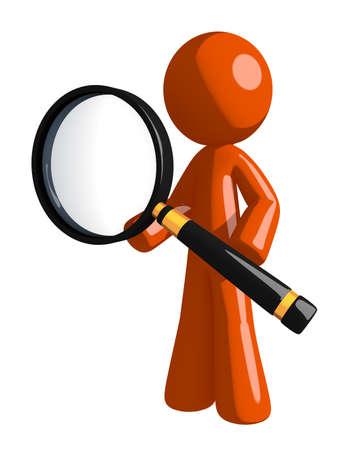 orange man: Orange Man Standing with Magnifying Glass