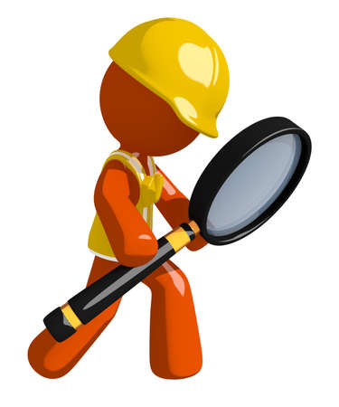 magnifying: Orange Man Construction Worker  Looking through Magnifying Glass