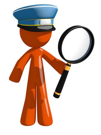 mailman: Orange Man postal mail worker  Holding Magnifying Glass