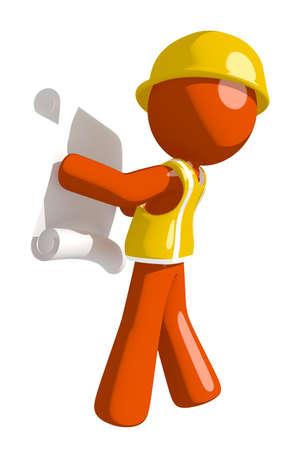 draftsmanship: Orange Man Construction Worker  Reading Schematic