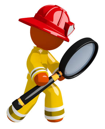 Orange Man Firefighter Using Giant Magnifying Glass