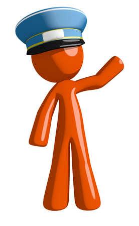 mail man: Orange Man postal mail worker  Waving