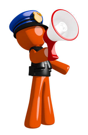 police man: Orange Man police officer  Speaking in Megaphone  or Bullhorn