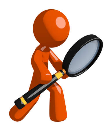loupe: Orange Man Looking through Magnifying Glass