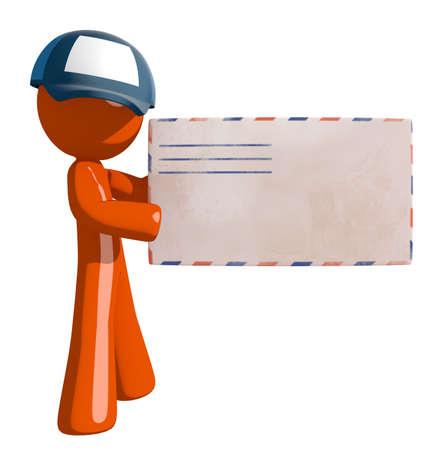 mail man: Orange Man postal mail worker holding Envelope