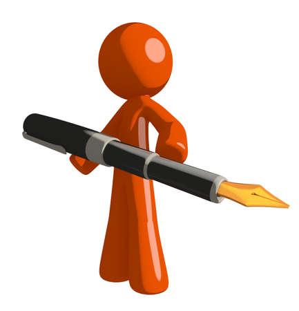 orange man: Orange Man holding a pen Stock Photo