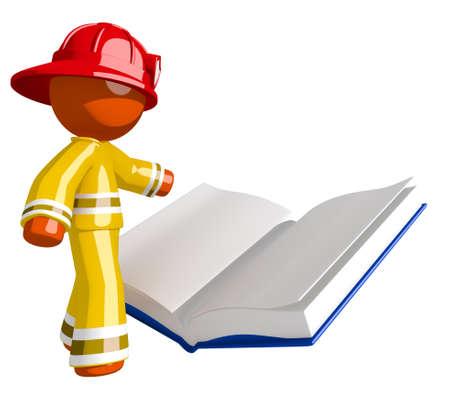 libro abierto: Orange Man bombero lectura Reglamento libro
