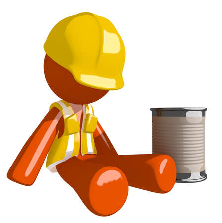 safety at work: Orange Man Construction Worker  Beggar Stock Photo