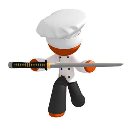 bowing: Orange Man chef bowing presenting ninja sword as trophy in a food competition.