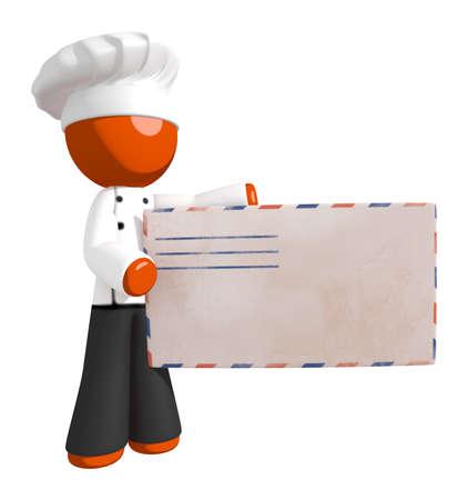 envelope design: Orange Man Chef Presenting Giant Mail Letter Envelope