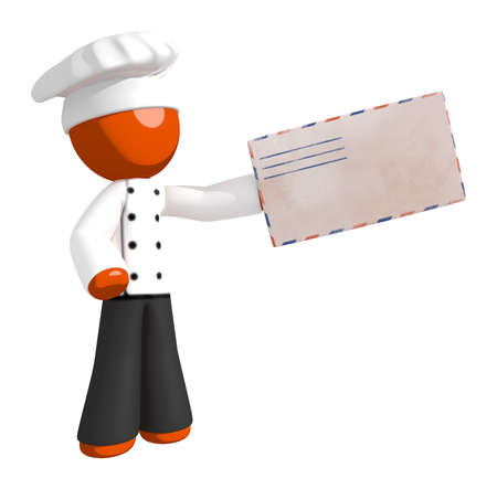 cooking food: Orange Man Chef Delivering Mail Stock Photo