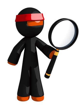 giant man: Orange Man Ninja Warrior Looking through giant magnifying Glass Stock Photo
