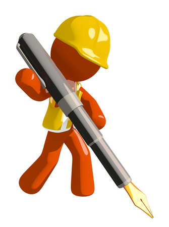 arquitecto caricatura: Orange Man Construction Worker  Writing With Fountain Pen