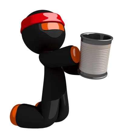 begging: Orange Man Ninja Warrior Begging Stock Photo