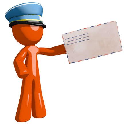 mailman: Orange Man postal mail worker  Presenting Envelope