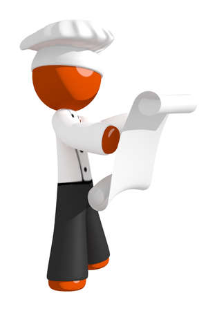 professional chef: Orange Man Chef Looking at Printed Online Recipe