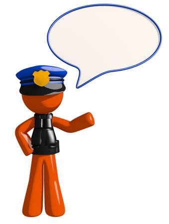word bubble: Orange Man police officer  Word Bubble