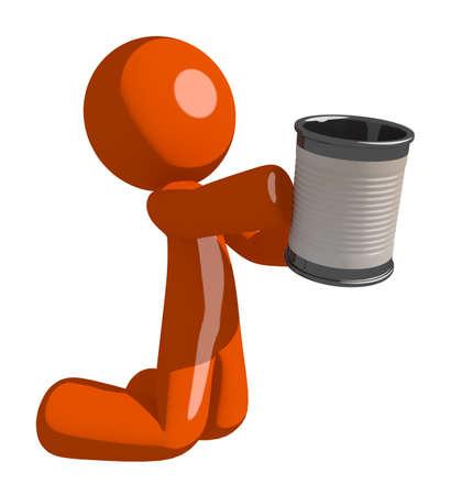 man begging: Orange Man Asking for Charity