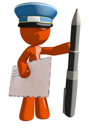 mailman: Orange Man postal mail worker  with Pen and Envelope
